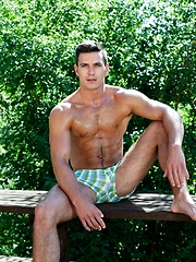 Very hot oiled gay stud solo posing